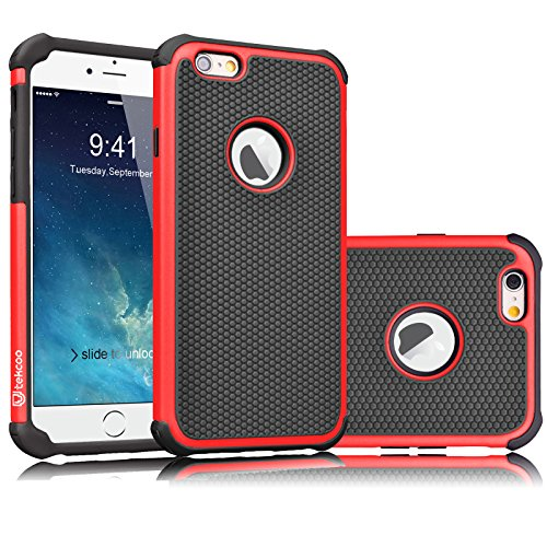 Tekcoo iPhone 6S Case, Tekcoo iPhone 6 Sturdy Case,[Tmajor] for iPhone 6 / 6S (4.7 INCH) Case Shock Absorbing Impact Defender Slim Cover Shell w/Plastic Outer & Rubber Silicone Inner [Red/Black]