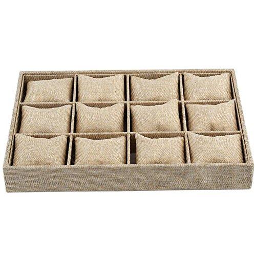 Valink 12 ranuras estilo almohada joyería reloj pulsera caja expositor collar pendientes caja contenedor caja caja de almacenamiento organizador de joyas soporte soporte