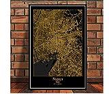 DLTYXME Póster Decoración Mapa Cartel Imprimir Viaje Pintura Arte Pared Imagen Sala de Estar decoración del hogar30x40cm (12x16inch)