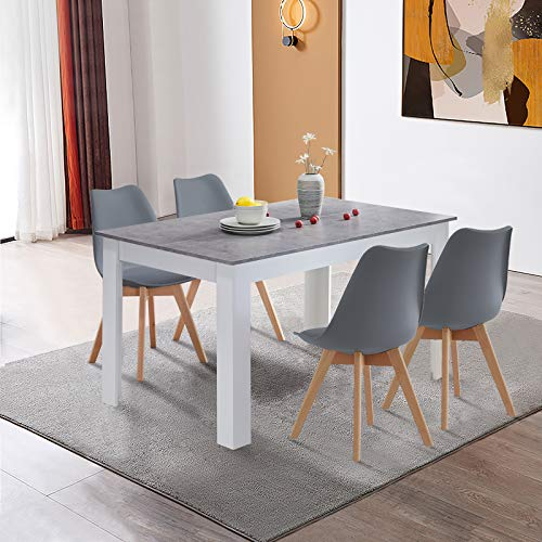 CLIPOP Wooden Kitchen Dining Table and Chair Set of 4 Retro and Modern Rectangle Kitchen Dining Table with 4 Upholstered Chairs for Dining Room Home Office Set