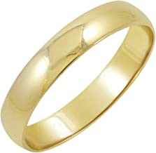 Men's 10K Yellow Gold 4mm Traditional Fit Plain Wedding Band (Available Ring Sizes 7-12 1/2)