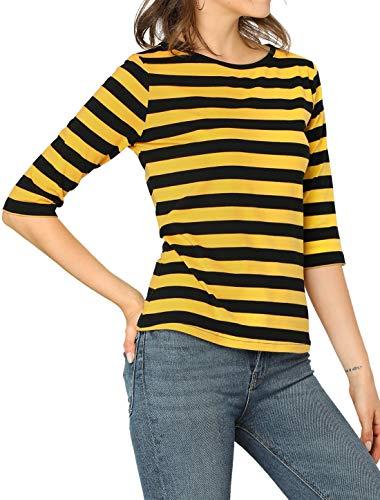 Allegra K Camiseta de manga corta para mujer, cuello redondo, color contraste, informal, a rayas