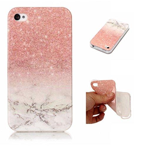 pinlu® Etui Handyhülle Für iPhone 4 4S 4G Weich TPU Silikon Ultra Dünn Protective Case Marmor Backcover Kratzfeste Entwurf Marble Linien Muster Roségold Weiß