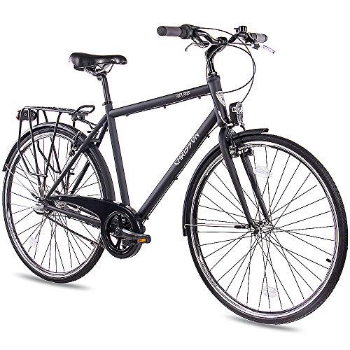 CHRISSON 28 Zoll Citybike Herren - City One schwarz 56 cm - Herrenfahrrad mit 3 Gang Shimano Nexus Nabenschaltung - praktisches Cityfahrrad für Männer