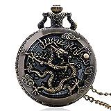 LYMUP Reloj de Bolsillo, Reloj de Vendimia Collar Zodiaco Dragón Dragón Hollow Relojes Mujeres Hombres Cuarzo Dragonfly Collar Regalos Colgantes,Vapor (Color : Metallic)