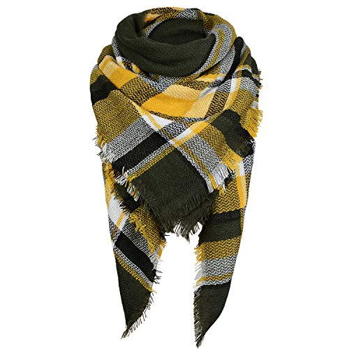 Zando Women Fall Winter Plaid Scarf Fashion Blanket Scarf Lightweight Tartan Scarf Shawl Oversized Chunky Scarfs Wrap Tassel Scarves for Women Yellow Green Scarf