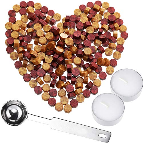 HESTYA 230 Pieces Octagon Sealing Wax Beads Sticks with 2 Pieces Tea Candles and 1 Piece Wax Melting Spoon for Wax Stamp Sealing (Gold and Wine Red)