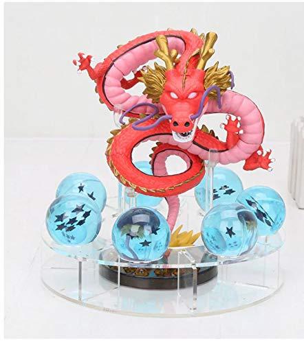 MSC Toy Figura Dragon Shenron Rojo PVC Dragon Ball Z + 7 Bolas de Dragon Azul 3,5 cm diametro + Estante Expositor MWC DBZ Figuras accion Juguetes Goku Dragon Ball Super Espectacular Akira