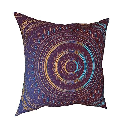 Fundas de almohada decorativas con diseño de mandala, diseño indio, color dorado, fundas de almohada personalizadas, fundas de cojín para sofá, dormitorio, coche, accesorios para el hogar, 50 x 50 cm
