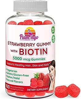 Flamingo Supplements - Biotin Gummies 10,000 mcg serving for Women & Men with Non GMO Gluten Free Natural Strawberry Flavor| Vegetarian, Kosher Halal Vitamins for Hair & Nails | 100 Count