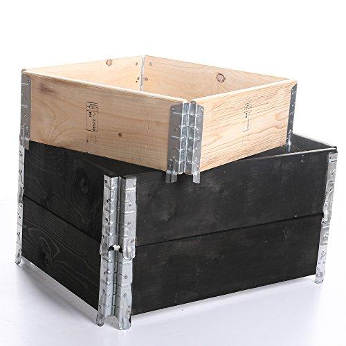 rg-vertrieb Palettenrahmen Aufsatzrahmen für Europaletten Hochbeet Gartenbeet Stapelrahmen 120x80x19cm Farbe Schwarz