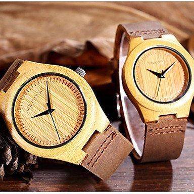 FENKOO shhors® natürlichen Mode einfachen Herrenuhr handgefertigten Uhrenultradünnen original Bambus-Frauen-Uhr echtes Leder Liebhaber