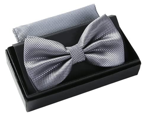 Massi Morino ® Herrenfliegen Set mit Tuch in Grau Männer Anzug Schleife Krawattenfliege bowtie graue graufarben grauefliege grey steingrau hellgrau klassischefliege