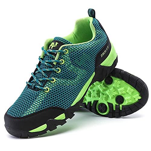 Y-PLAND Sommer Upstream Trekking Schuhe, Frauen Anti-Skid Mesh Wandern Wasser Sneakers, Sport Schuhe Frau Außen, Bequeme Tourismus Schuhe-Green-2_Eu36