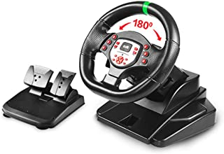 180 Degree Motor Vibration Driving Gaming Racing Wheel,with Responsive Gear And Pedals Compatible for PS4/PS3/PC/Android/X...