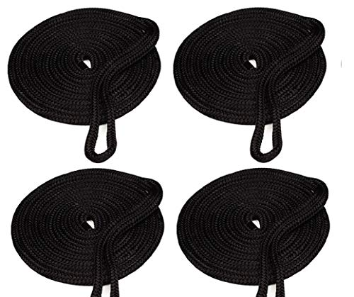 Amarine Made 4-Pack 5/8 Inch 20 FT Double Braid Nylon Dockline,Mooring Rope Double Braided Dock Line (Black)