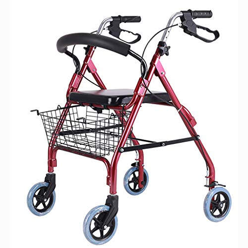 B-fengliu Rollator Elderly Walker Plegable deshabilitado Walker asistido con Rueda con Asiento de Cuatro Esquinas ✅