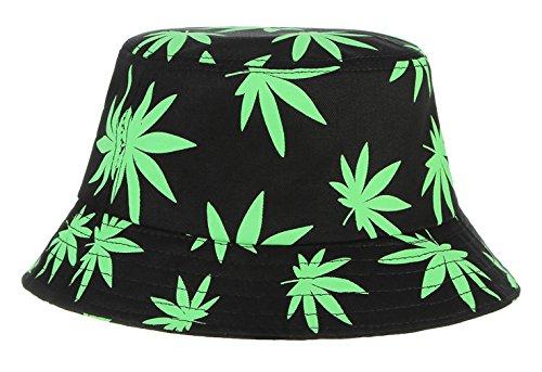 EOZY Unisex Sonnenhut Bucket Hat Fischerhut Cannabis Muster Mütze Hellgrün