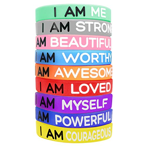 Playcrate Inspirational Wristbands 9 Silicone Motivational Wrist band Bracelets with 9 Messages of Inspiration to Improve you Day