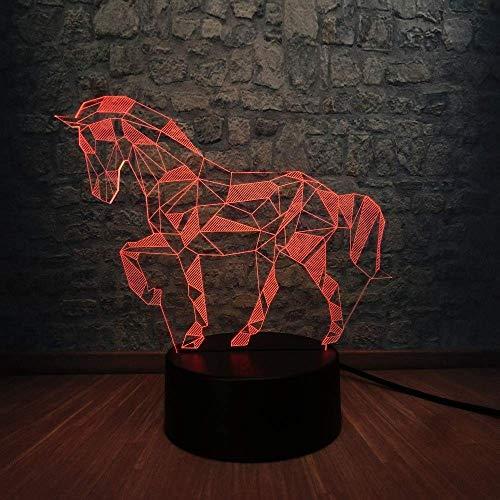 Regalos para novios Regalos de Navidad Lámpara 3D Animal Retro Ambiente de caballo Lámpara LED 3D USB Unicornio multicolor Luces nocturnas Niño Visual Navidad Año nuevo Regalo con control remoto
