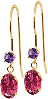 Gem Stone King 1.12 Ct Oval Pink Tourmaline Purple Amethyst 14K Yellow Gold Earrings