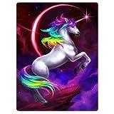 YISUMEI Warm Soft Cozy Plush Throw Fleece-Flannel Blanket 30'x40' Beautiful Unicorn Rainbow Nebula Moon