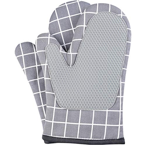 AICHEF Oven Mitts Process Manufacturing of Silicone and Cotton 1 Pair Flexible Heat-Resistant Kitchen Gloves for Baking, Cooking, (Grey Checkered)