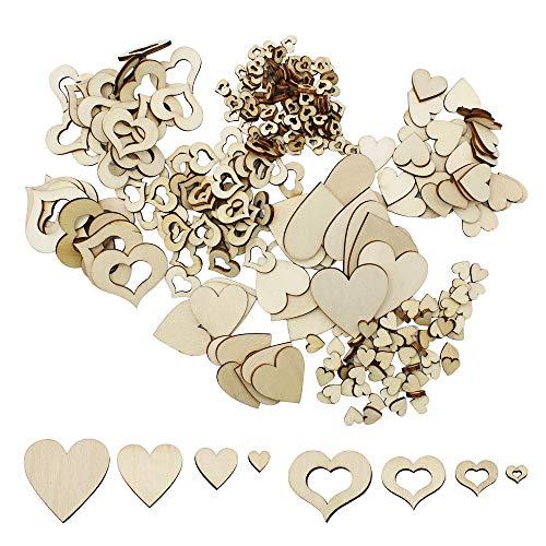 400 Piezas Rebanada de Corazón de Madera Corazón de Madera Natural para Bricolaje Hogar Decoración Decoraciones de Boda Scrapbooking