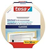 tesa Malerband CLASSIC - Abdeckband zum Abkleben bei Malerarbeiten - lösungsmittelfrei, rückstandslos entfernbar - 50 m x 30 mm