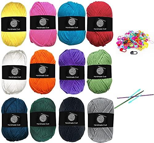 Koytoy Hilo de ganchillo, 12 colores x 50 g de lana para tejer, hilo de punto doble, hilo de...