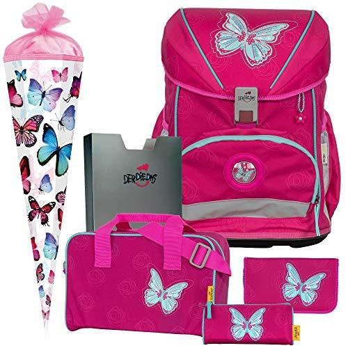 Mariposa - Schmetterling - Butterfly - DerDieDas ErgoFlex Superlight Schulranzen-Set 6tlg. - SCHULTÜTE GRATIS DAZU