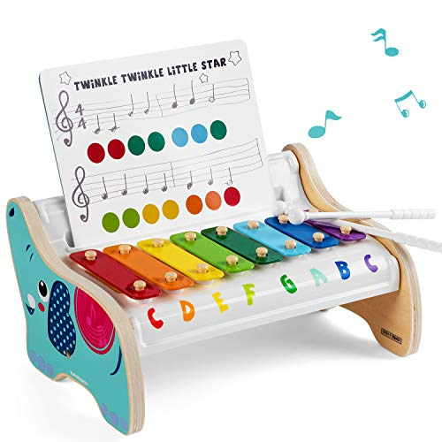 TOP BRIGHT Wooden Xylophone for Kids, Baby Musical Instrument Toy with 2 Xylophone Mallets and 3 Musical Cards, Holiday Birthday Gift for 1 2 Year Old Boys Girls Toddlers