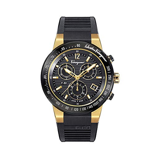Salvatore Ferragamo Men's F-80 Chrono Quartz Watch with Rubber Strap, Black, 26 (Model: SFDL00318)