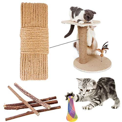 Cuerda de Sisal Natural,Cuerda de Sisal Gatos,Cuerda de Sisal Multipropósito,Cuerda de Sisal para Rascador de Gatos, para Reemplazo Árbol Rascador para Gatos, Accesorios de Bricolaje Manualidades