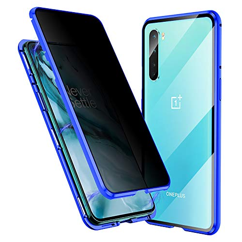 Anti-Spy Case for Oneplus Nord, Jonwelsy 360 Degree Front and Back Privacy Tempered Glass Cover, Anti Peeping Screen, Magnetic Adsorption Metal Bumper for 1+ Nord (Blue)