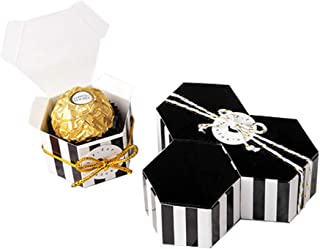 Black Stripes Candy Box Bulk with Gold Ribbon And Round card,GAKA Hexagon Gold Stripes Style Design For Wedding Candy Box,Baby Shower Box,DIY Chocolate Cookies Case,Birthday Party Supplies pack of 50