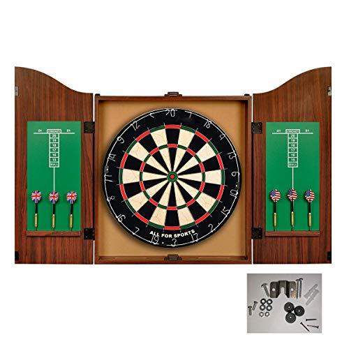 APENCHREN Indoor-Spiel 18-Zoll-Profi-Dartscheibe, mit 6 Darts, Holz-Dartschrank-Set - für Sport Office (Kinder und Erwachsene)