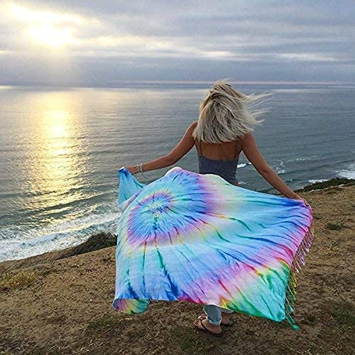 Turkish Towel - Peshtemal Cotton - Great for Home or Beach or as a Blanket - Tie-Dye - As Seen on Shark Tank (Wanderlust)