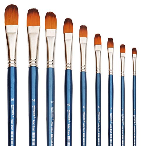 Filbert Paint Brushes Set, 9 Pcs Professional Artist Brush for Acrylic Oil Watercolor Gouache Painting Long Handle Brushes Nylon Hair