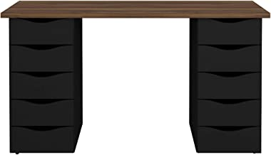 Artany DUE Desk with Drawers, Nogal Brown with Black - W 147 cm x D 45 cm x H 75 cm, 7899805409223, 1