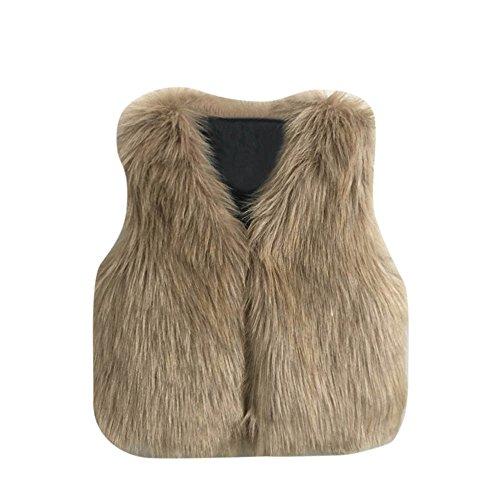 luoluo kunstbont vest mantel meisjes 3-7 jaar warm winterjas imitatiebontmantel onderhemd kinderen meisjes dikke mantel mouwloos gewatteerde jas jassen bovenkleding