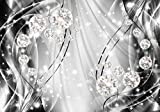 DekoShop AMD10406VEXXL - Papel pintado fotográfico (312 x 219 cm), diseño abstracto con diamantes y plata