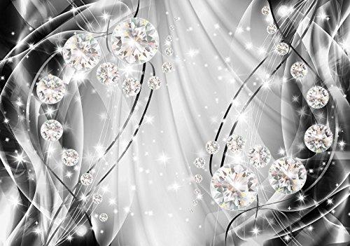 DekoShop Fototapete Vlies Tapete Moderne Wanddeko Wandtapete Dekoration Abstrakt, Diamanten und Silber AMD10406VEXXL VEXXL (312cm. x 219cm.) Tapetenkleister und Überraschungsaufkleber Gratis