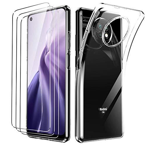 Oududianzi - Cover per Xiaomi Redmi Note 9T + [3x Pellicola Protettiva in Vetro Temperato], Custodia Morbida Chiaro Sottile Case in Silicone Gel TPU - Trasparente