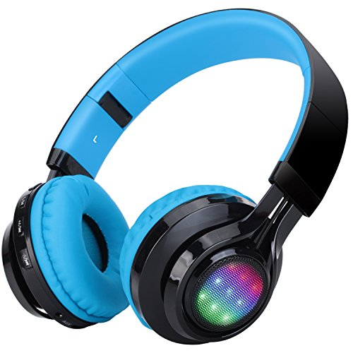 Bluetooth Headset, Riwbox AB005 Wireless Headphones 5.0 with Microphone Foldable Headphones with TF Card FM Radio and LED light for Cellphones and All Bluetooth Enabled Devices (Black&Blue)