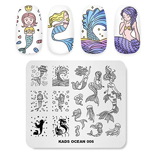 KADS Stamping Plates for Nail Art Ocean Mermaid Template Image Plate Stencil Nails Tool(OC006)