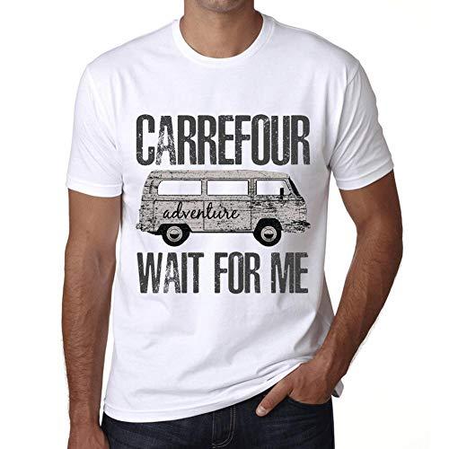 Hombre Camiseta Vintage T-Shirt Gráfico Carrefour Wait For Me Blanco