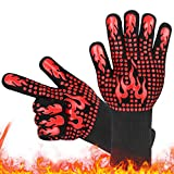 guanti da barbecue,aioia guanti da forno guanti barbecue resistenza al calore fino a 800°c,accessori cucina cotone morbida&silicone antiscivolo per cuocere, grigliare,forno a microonde(rosso)