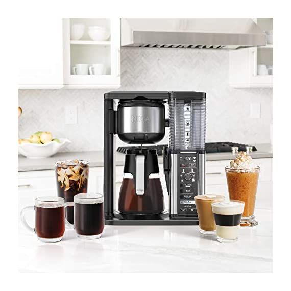 Ninja specialty fold-away frother (cm407) coffee maker, single serve to 10 cup (50 oz. ) 5 specialty brew: brew super rich coffee concentrate that you can use to create delicious lattes, macchiato, cappuccinos, and other coffeehouse style drinks iced coffee: brew fresh over ice for flavorful iced coffee that's never watered down 6 brew sizes: brew anything from a single cup or travel size to a half carafe or a full carafe in your coffee maker