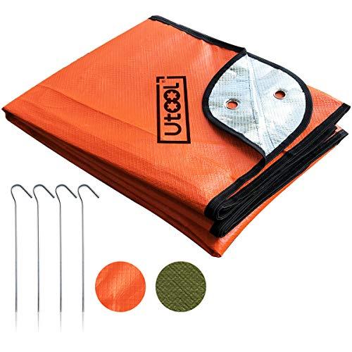 UTOOL Notfall-Decke, extra große Thermo-Plane, reflektierende Überlebensdecke, wasserfest, 93 % Wärmespeicherung, reißfest, Wiederverwendbare Eigenschaften Strapazierfähig Heavy Duty Orange